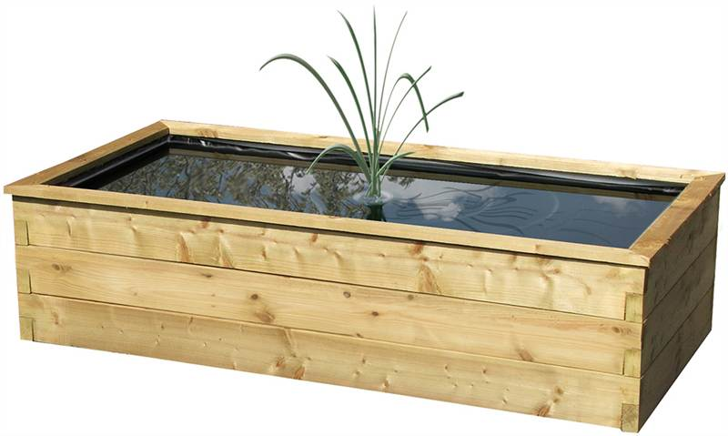 New robust raised wooden fish pond outdoor feature liner for Planter fish pond