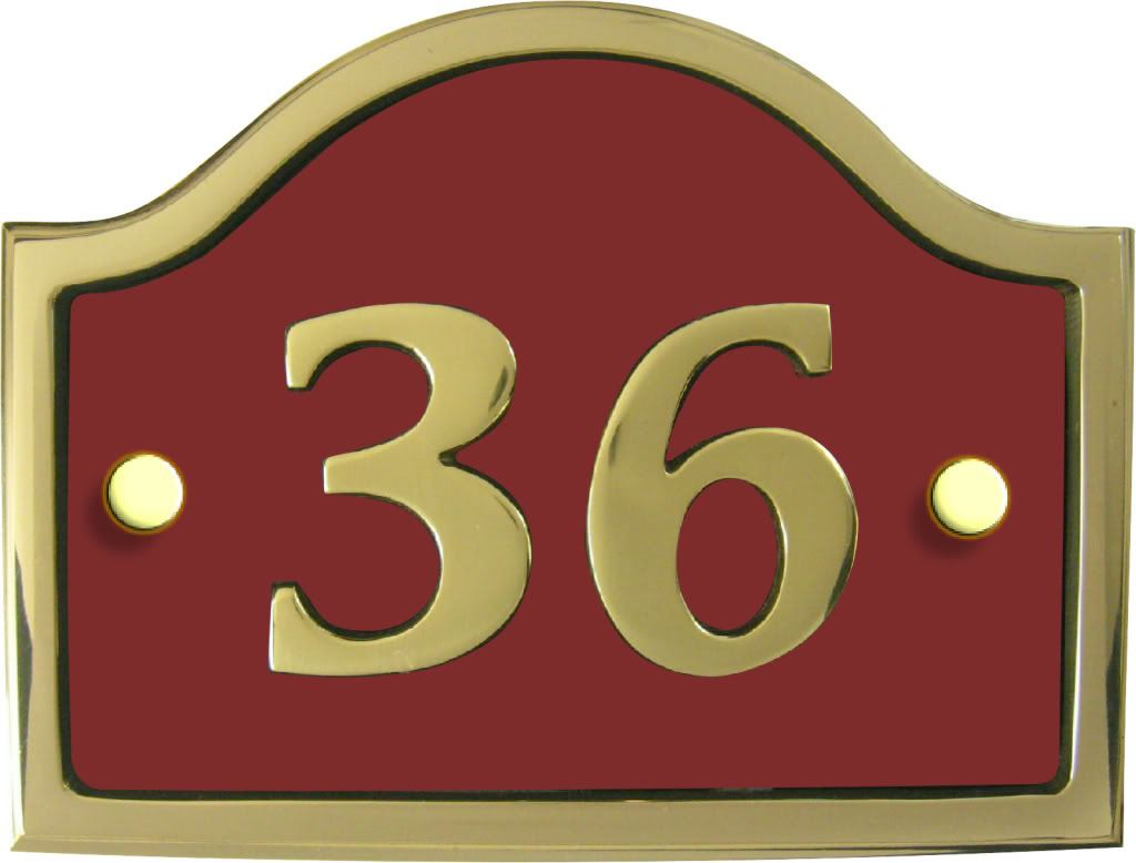 Modern contemporary brass bridge house number plaque for Modern house number plaques