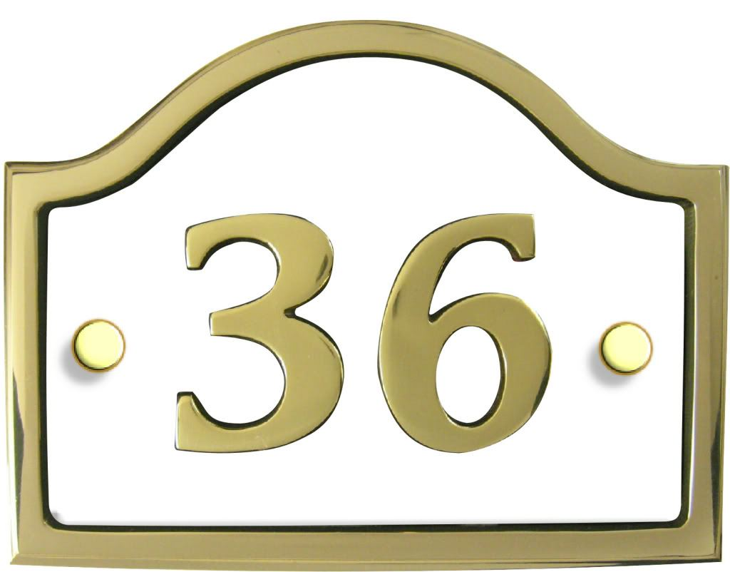 Modern contemporary brass bridge house number plaque ebay for Modern house number plaques