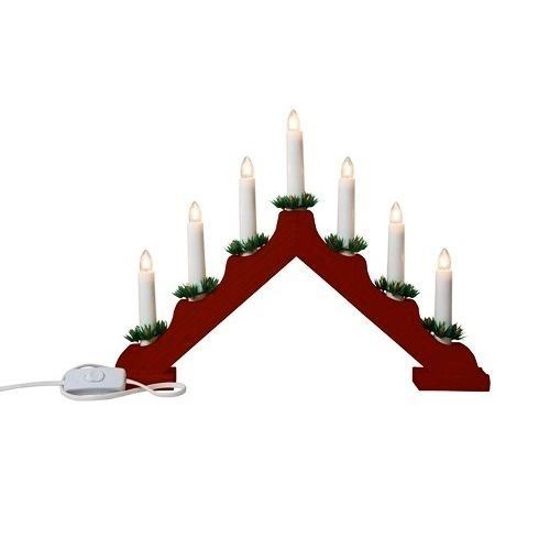 Wooden candle bridge light 7 bulb arch bridge window for 7 candle christmas decoration