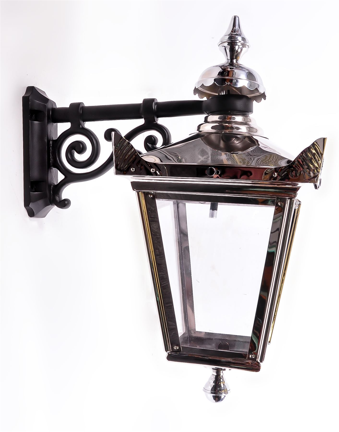 Black Ornate Wall Lights : Suspended Victorian Style Lantern and Wall Bracket In Bright Chrome