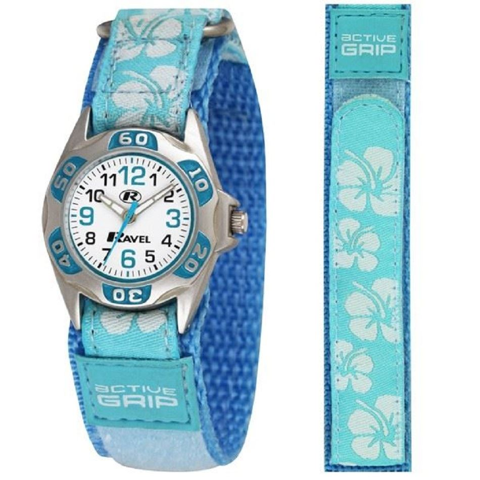 Girls-Hibiscus-Flowers-Hawaii-Style-Velcro-Strap-Analogue-Watch