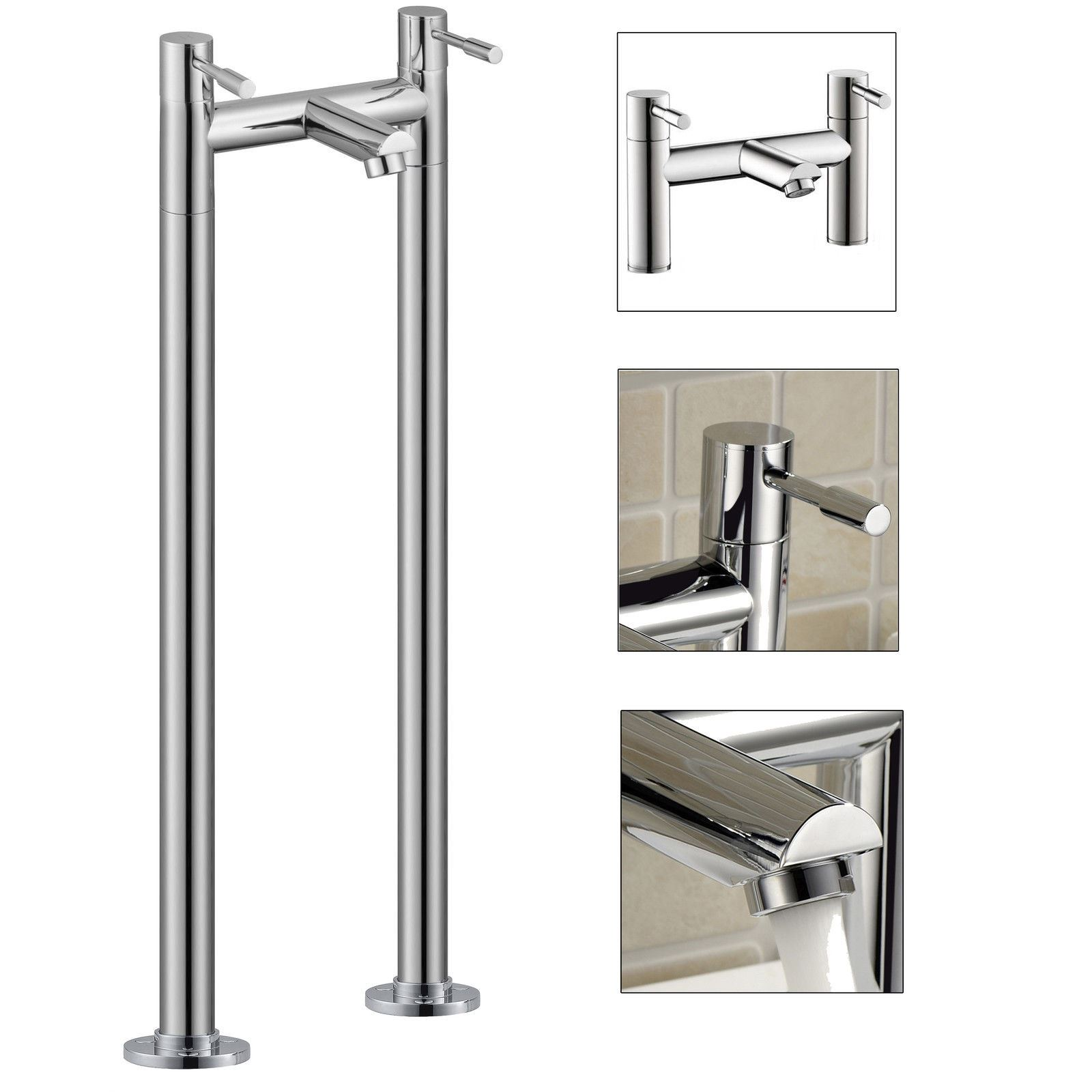 freestanding bath filler mixer pipe legs chrome modern bathroom tap