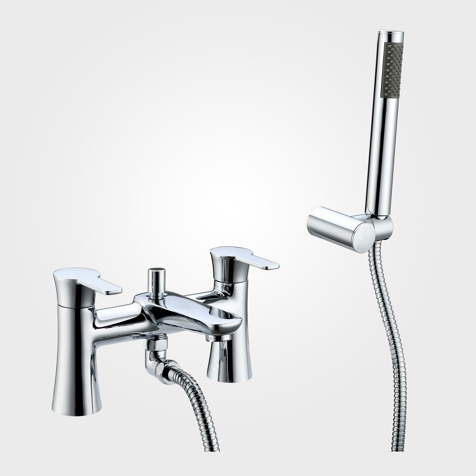 Perth Bath Shower Tap Mixer With Pencil Handset And Fixing