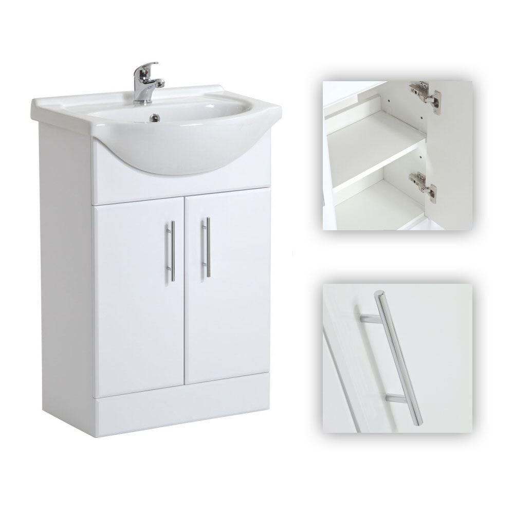 550mm modern white freestanding bathroom basin vanity unit Freestanding bathroom cabinet white