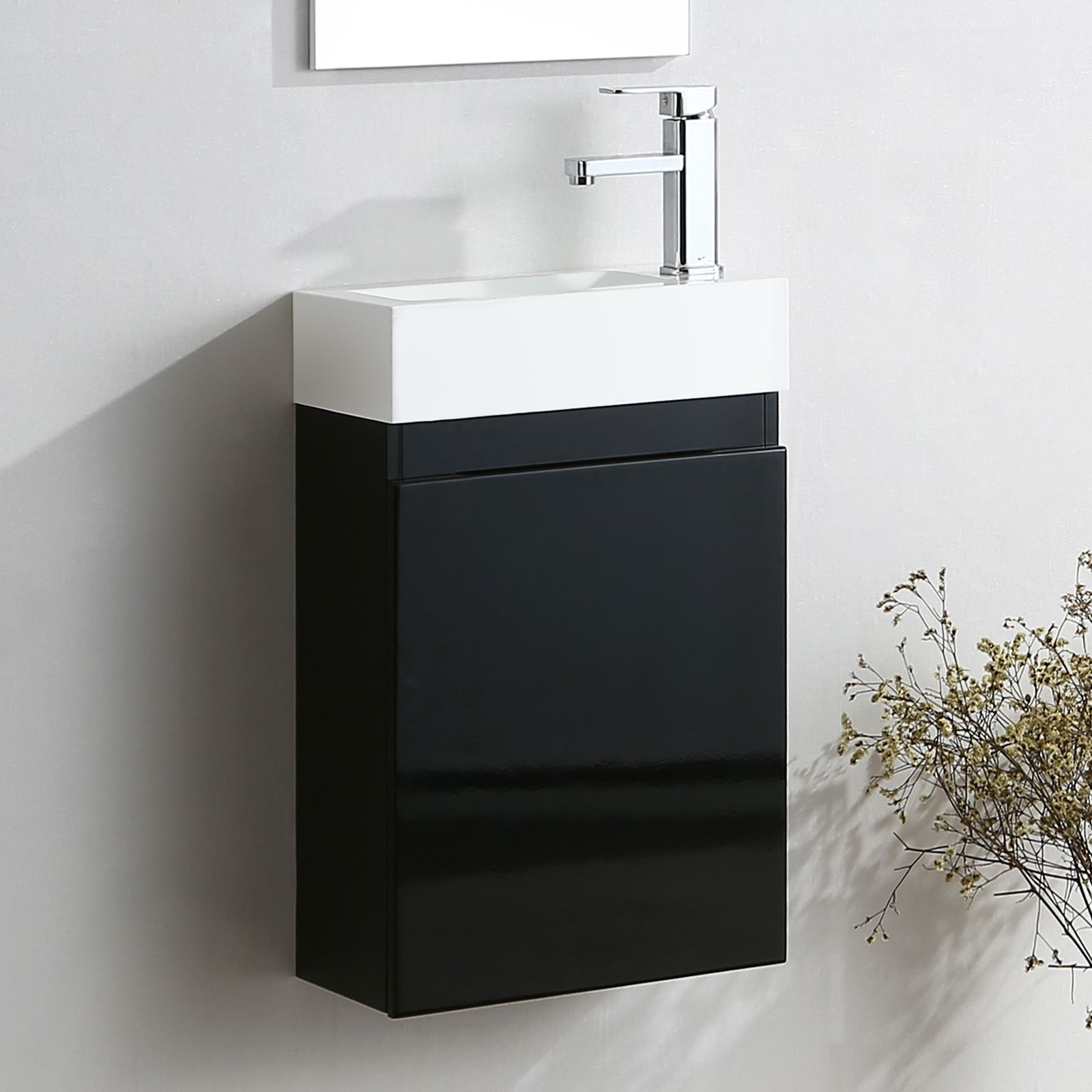 Black Bathroom Basin : FELIX BLACK CLOAKROOM BATHROOM SUITE TOILET & WHITE BASIN VANITY UNIT ...