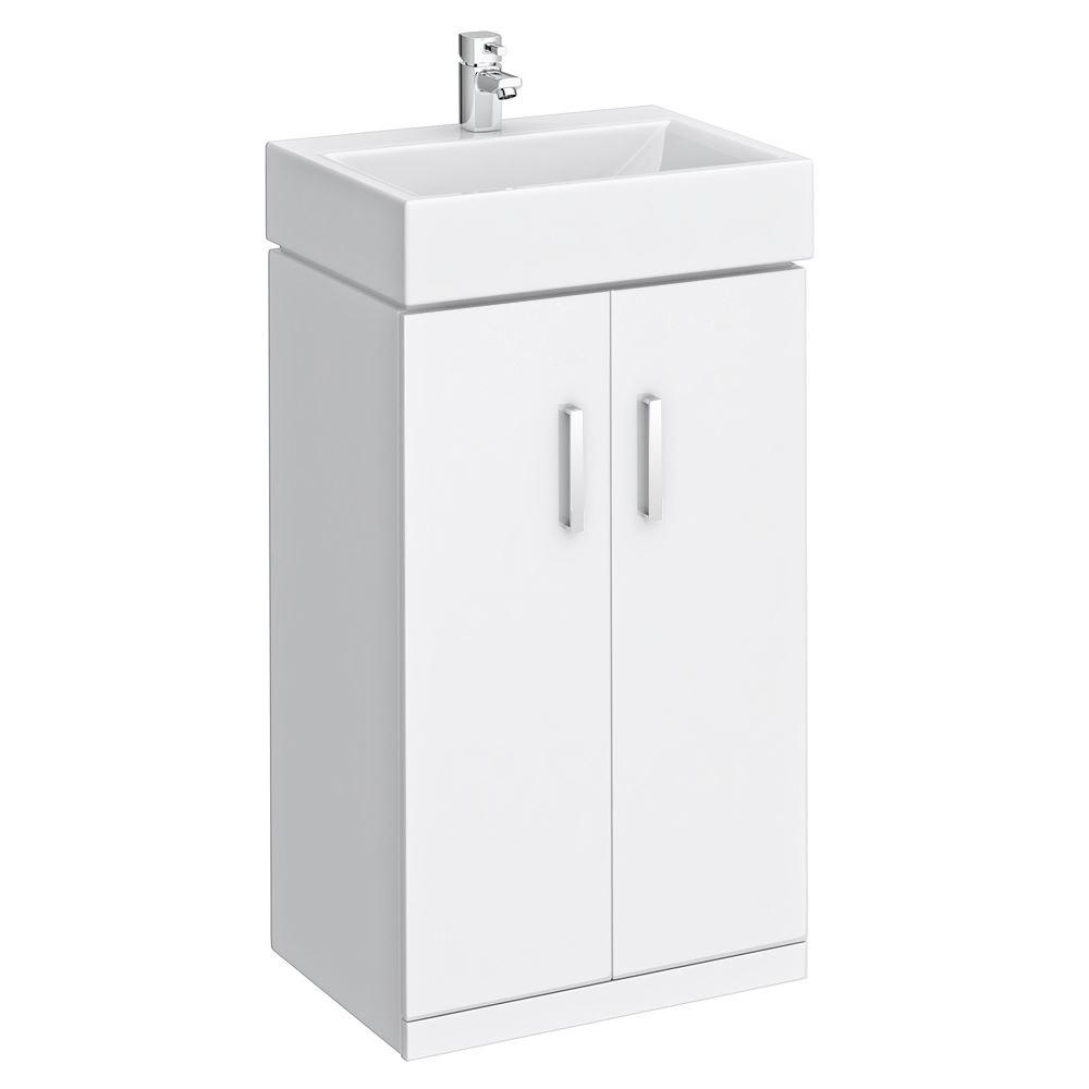 White high gloss bathroom cabinet freestanding unit