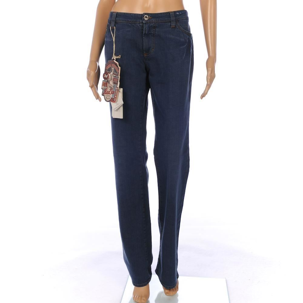 DOLCE u0026 GABBANA Jeans Blue Bootcut Tight Fit Leather Pocket Strap Size 34 FX 831   eBay