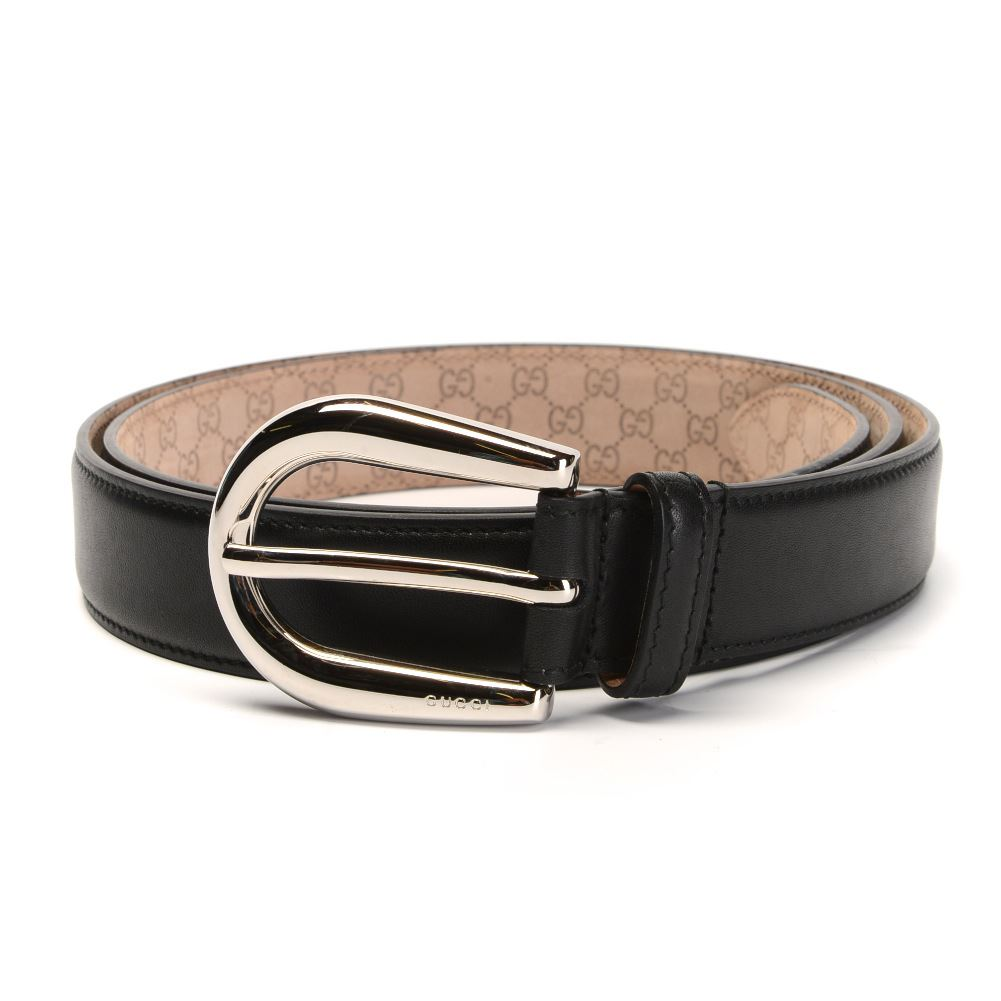 gucci belt black leather with silver buckle za