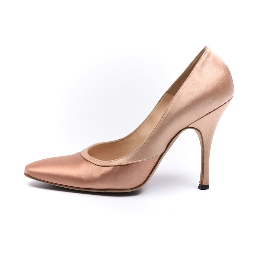 manolo blahnik shoes pale pink satin size 37 ns 140 ebay