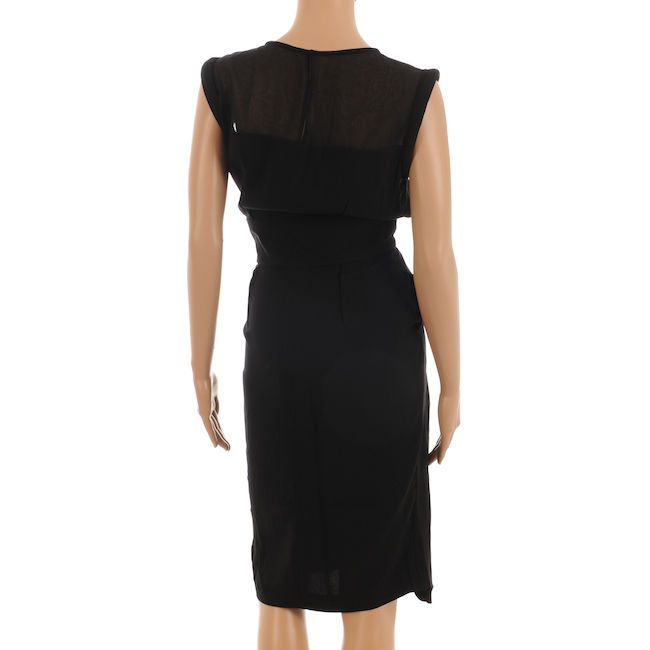 valentino shift dress black knee length with roll sleeves