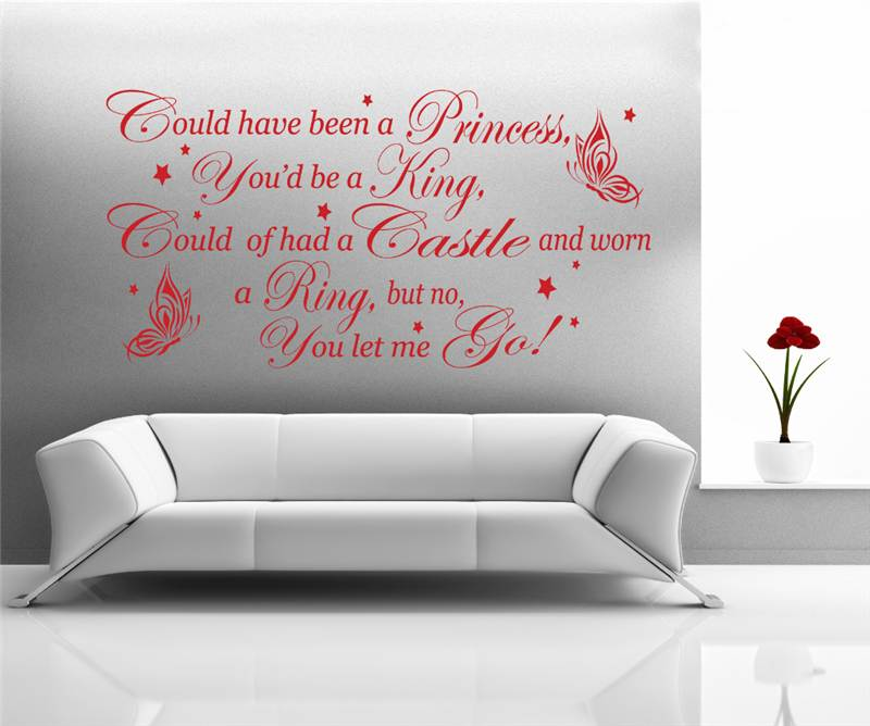 Wall Art Stickers Song Lyrics : Coldplay amp rhianna princess of china song lyrics wall