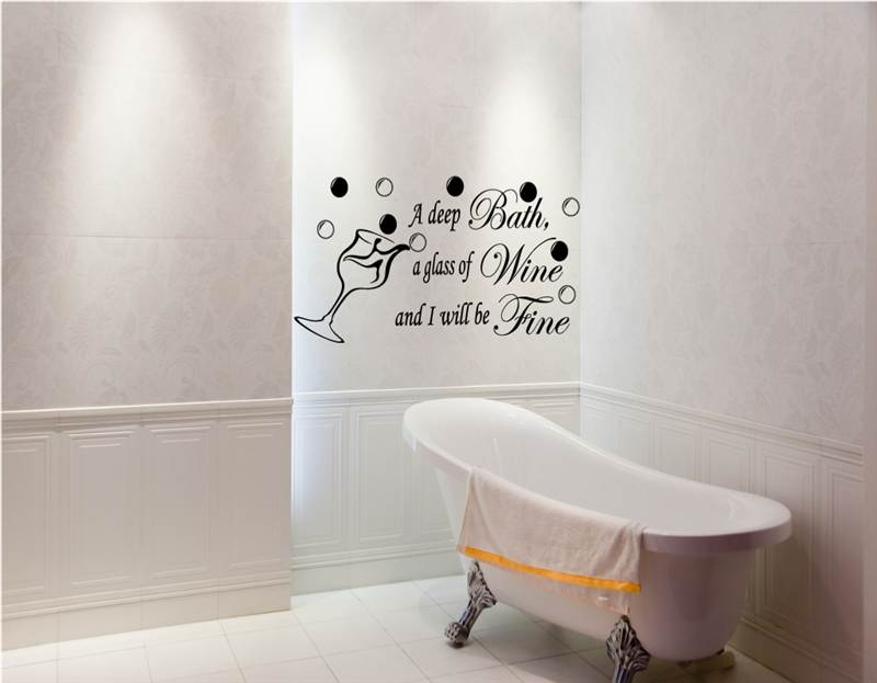 Bath wine be fine bathroom ensuite vinyl art wall for Bathroom wall decor quotes
