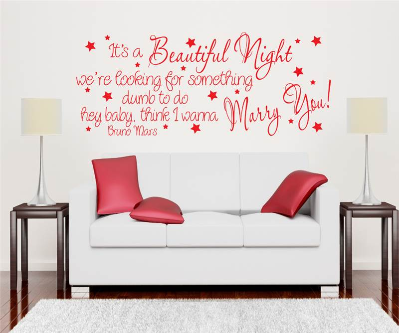 bruno mars marry you song lyrics wall art decal feel my love song lyrics wall sticker pictures to pin on