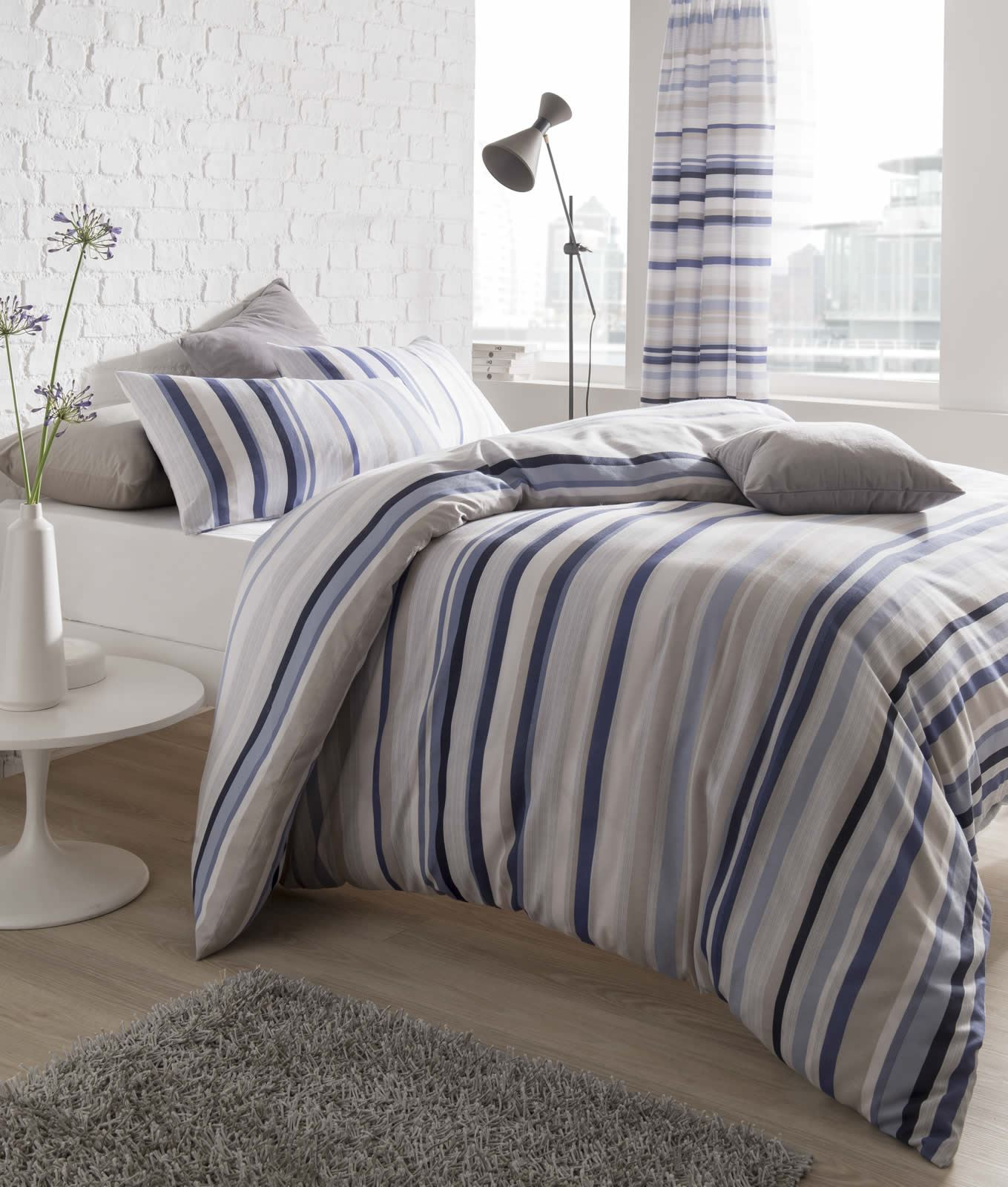 Nautical Stripe Duvet Cover Easy Care Quilt Set Cotton