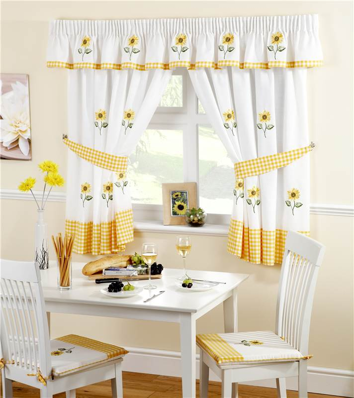 Lemon Sunflower Kitchen Curtains / Pelmet / Cafe Panels