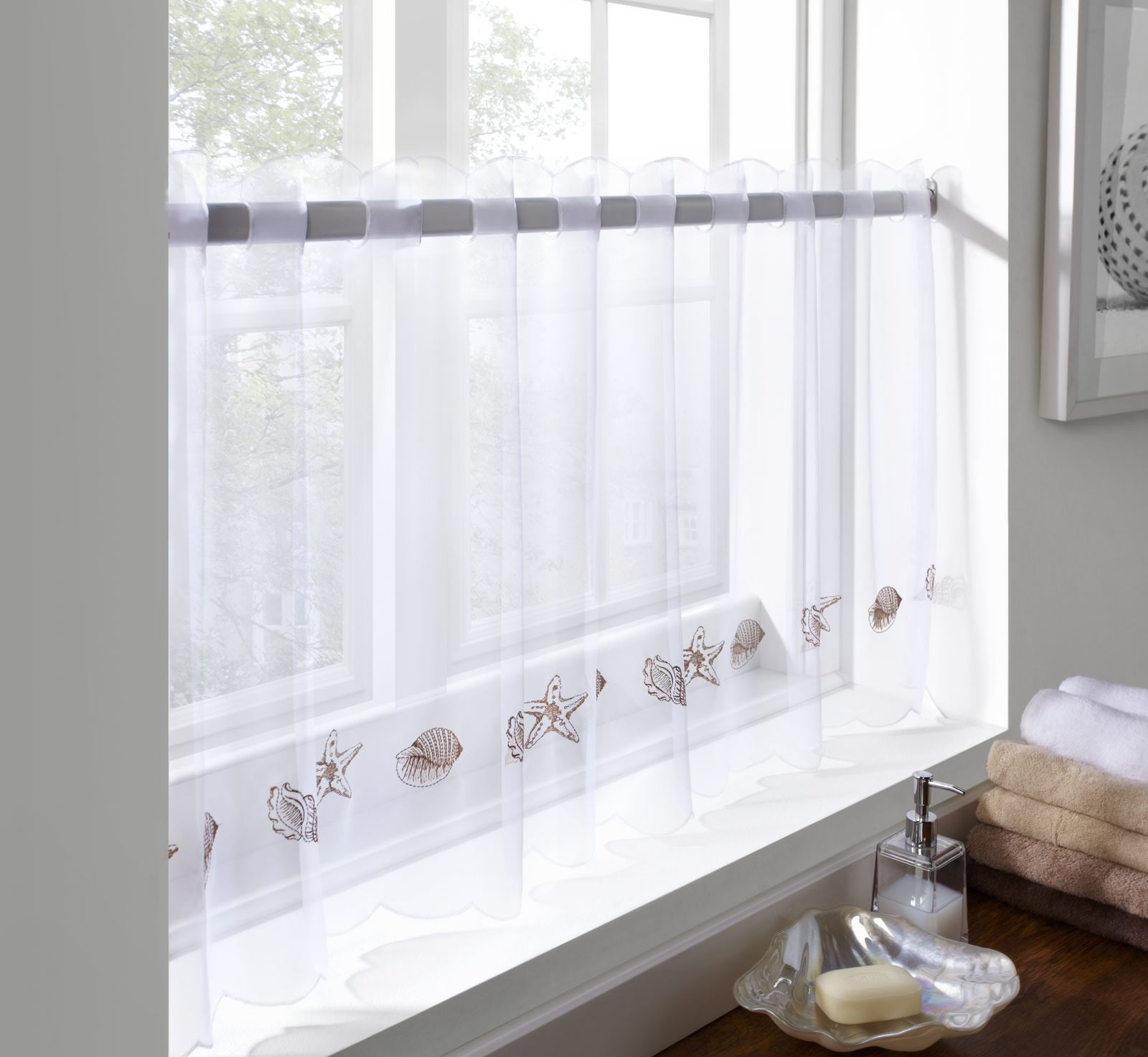 Cafe curtains for bathroom - Sheer Voile Cafe Panel Kitchen Bathroom Ready Made