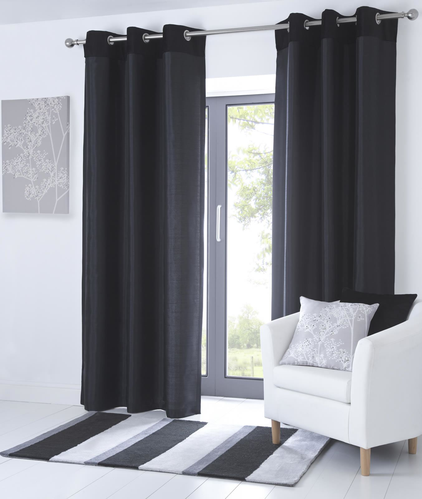 Fully Lined Eyelet Curtains Faux Leather Ready Made