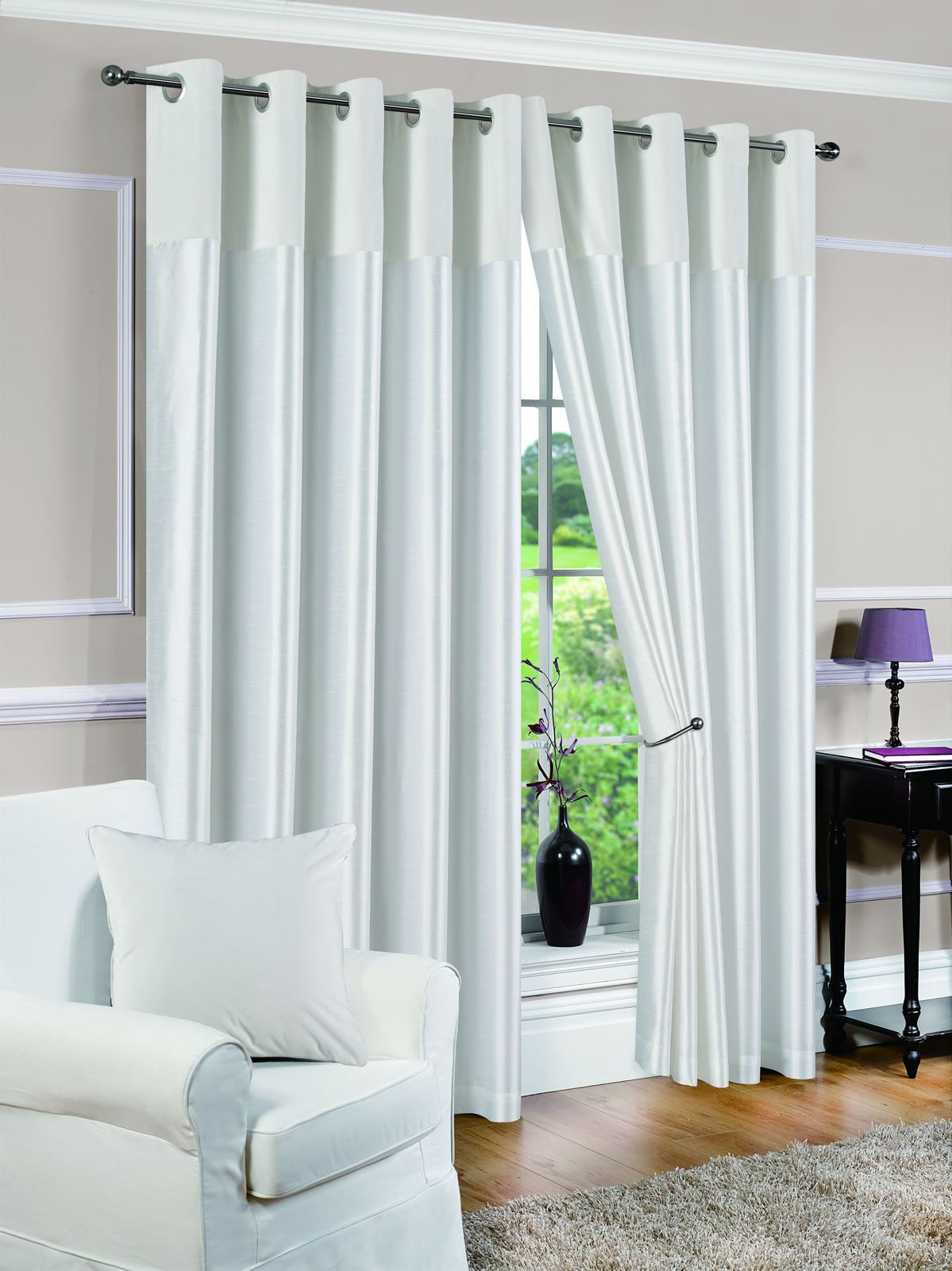 White Lined Eyelet Curtains Faux Suede Derwent Ready Made Ring Top - Ready made curtains white