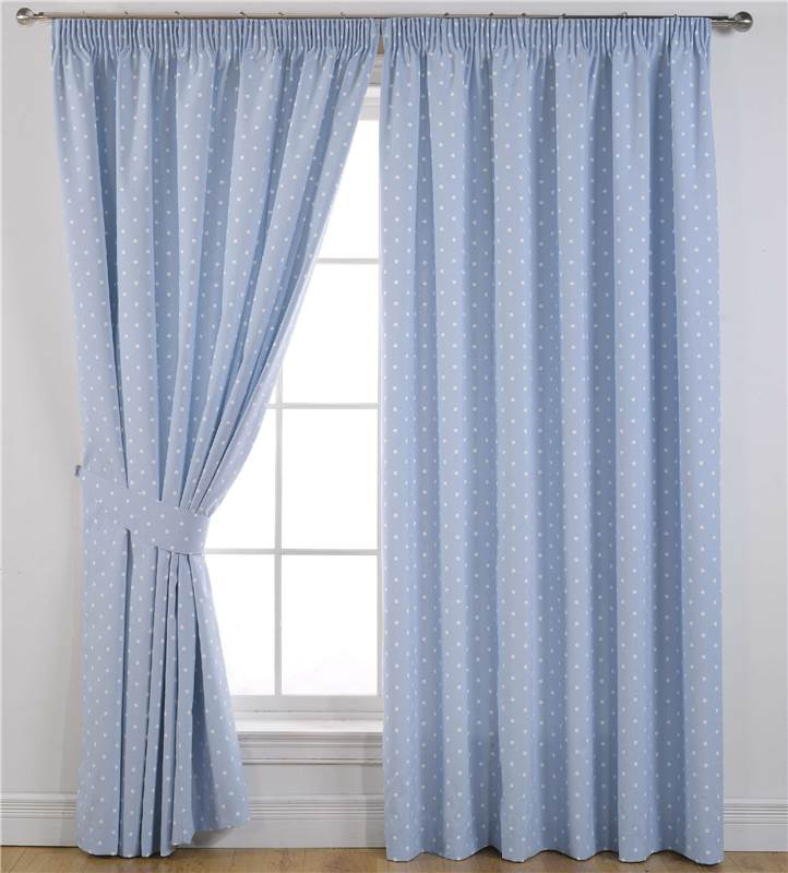 Dotty Blackout Polka Dot Lined Tape Top Curtains Pencil Pleat Curtain Pairs Ebay