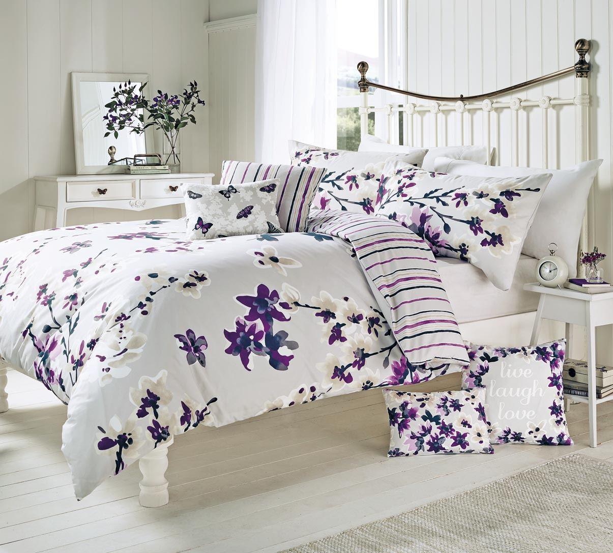 sakura floral duvet cover quilt set mauve purple single double