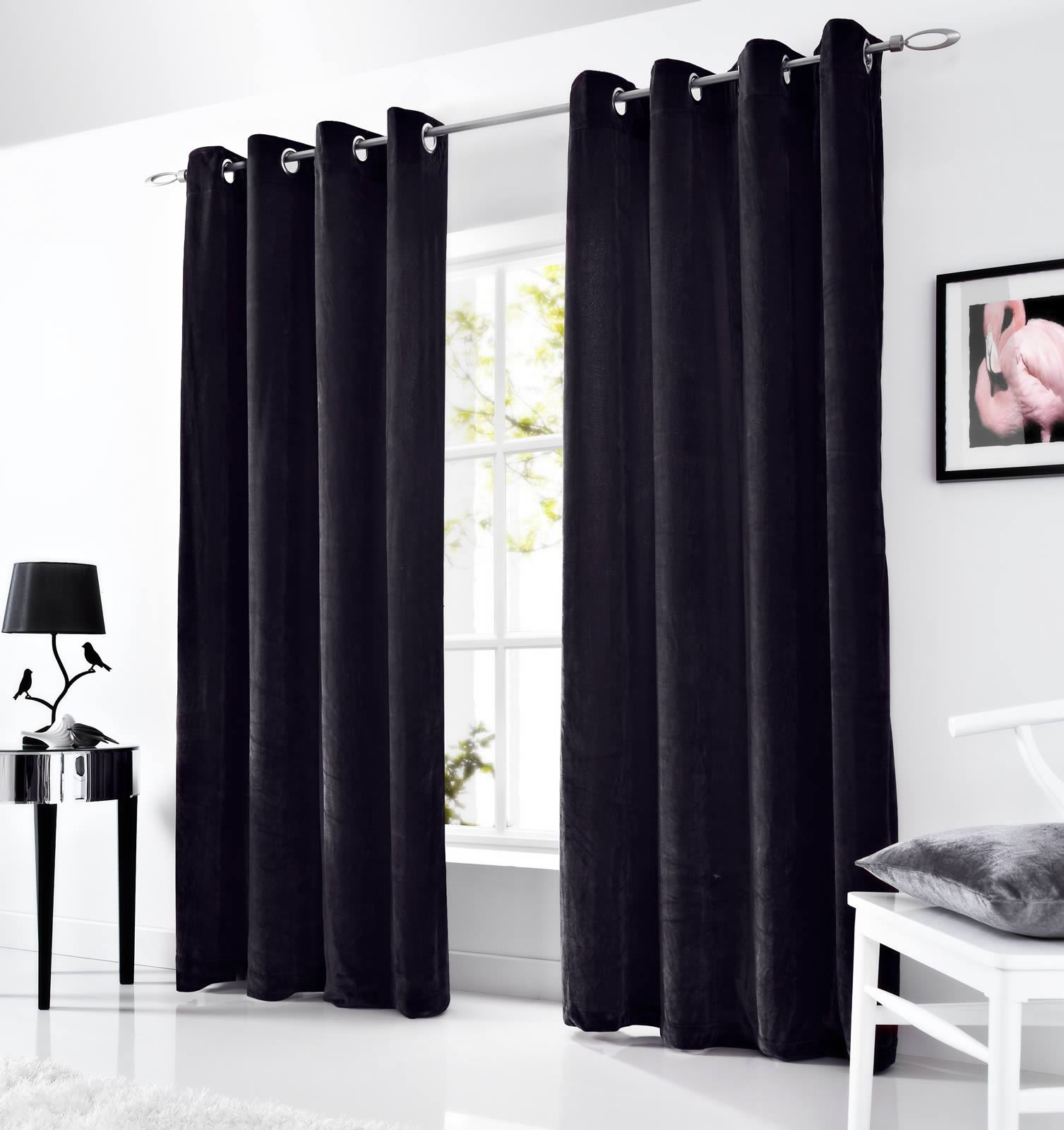 velvet eyelet curtains lined ringtop curtain pairs grey. Black Bedroom Furniture Sets. Home Design Ideas