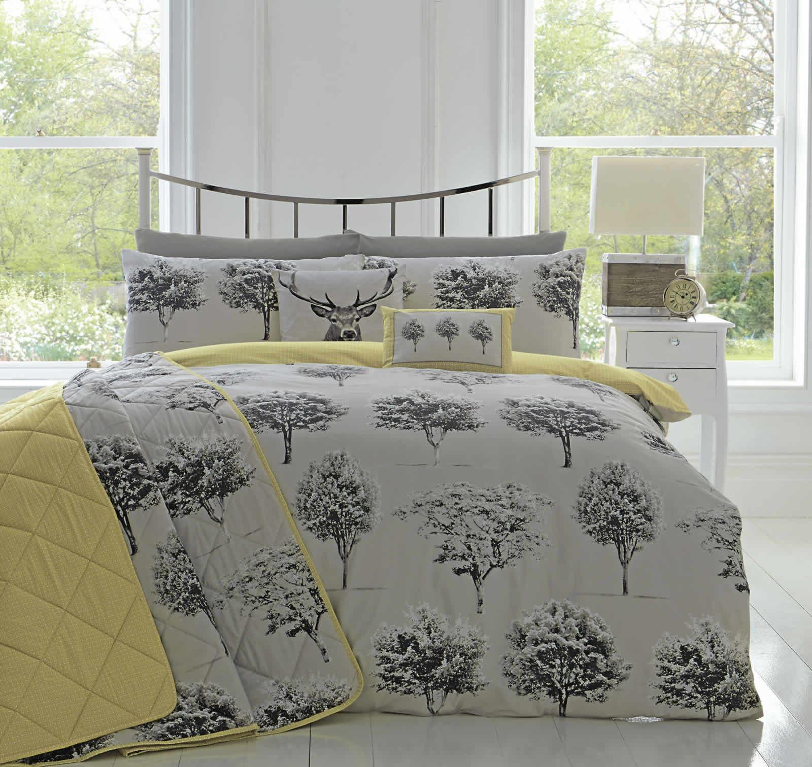 appletree® woodlands reversible duvet covers quilt set rothay grey  - appletreewoodlandsreversibleduvetcoversquiltsetrothay