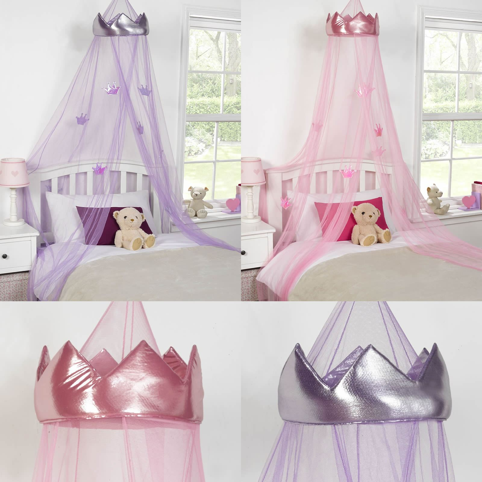Princess Bed Canopy Girl Crown Pelmet Upholstered Awning: KIDS CHILDRENS GIRLS PRINCESS CROWN BED CANOPY INSECT