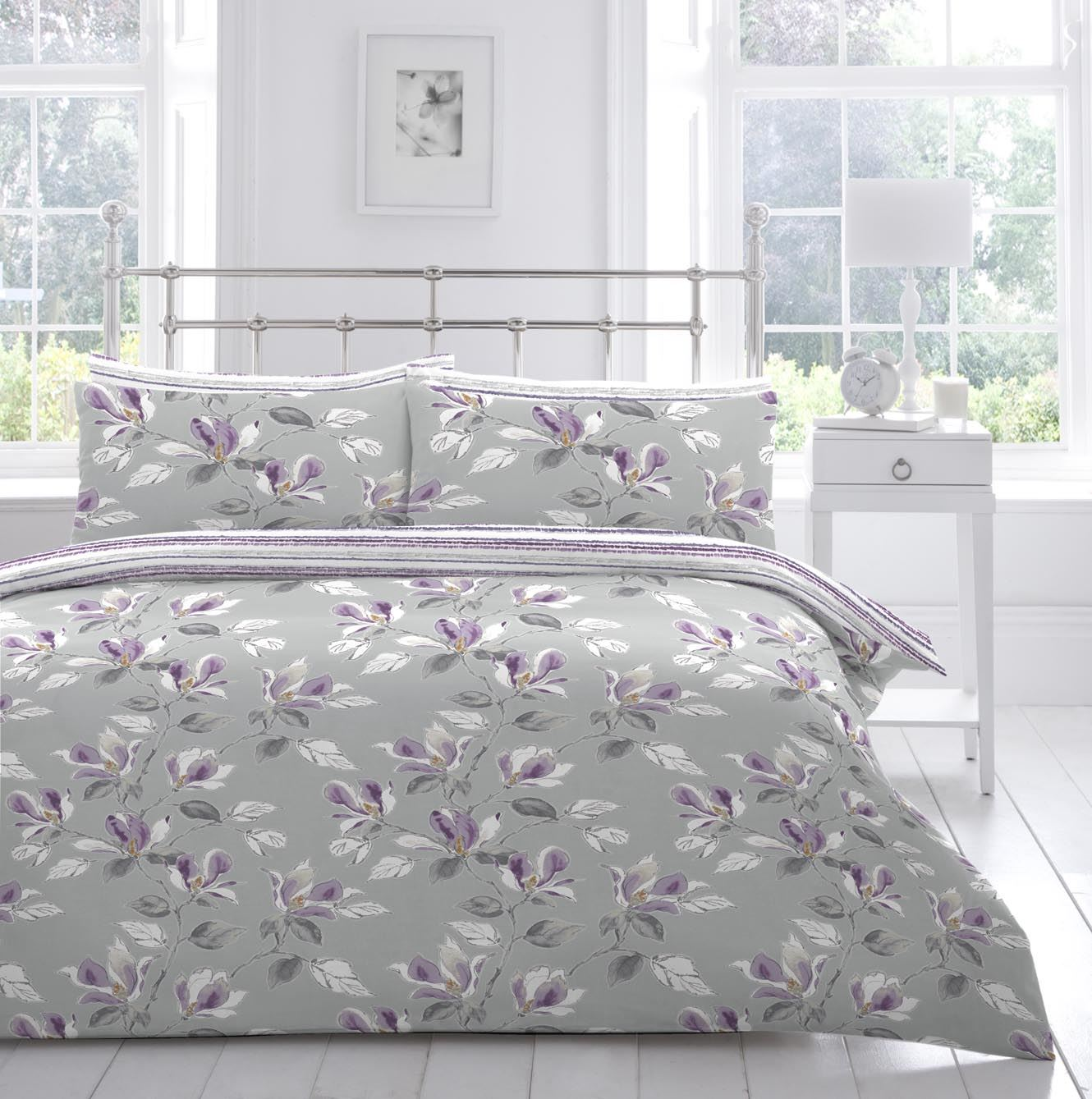 appletree® sabille floral duvet cover  cotton quilt set grey  - appletree® sabille floral duvet cover  cotton quilt set grey