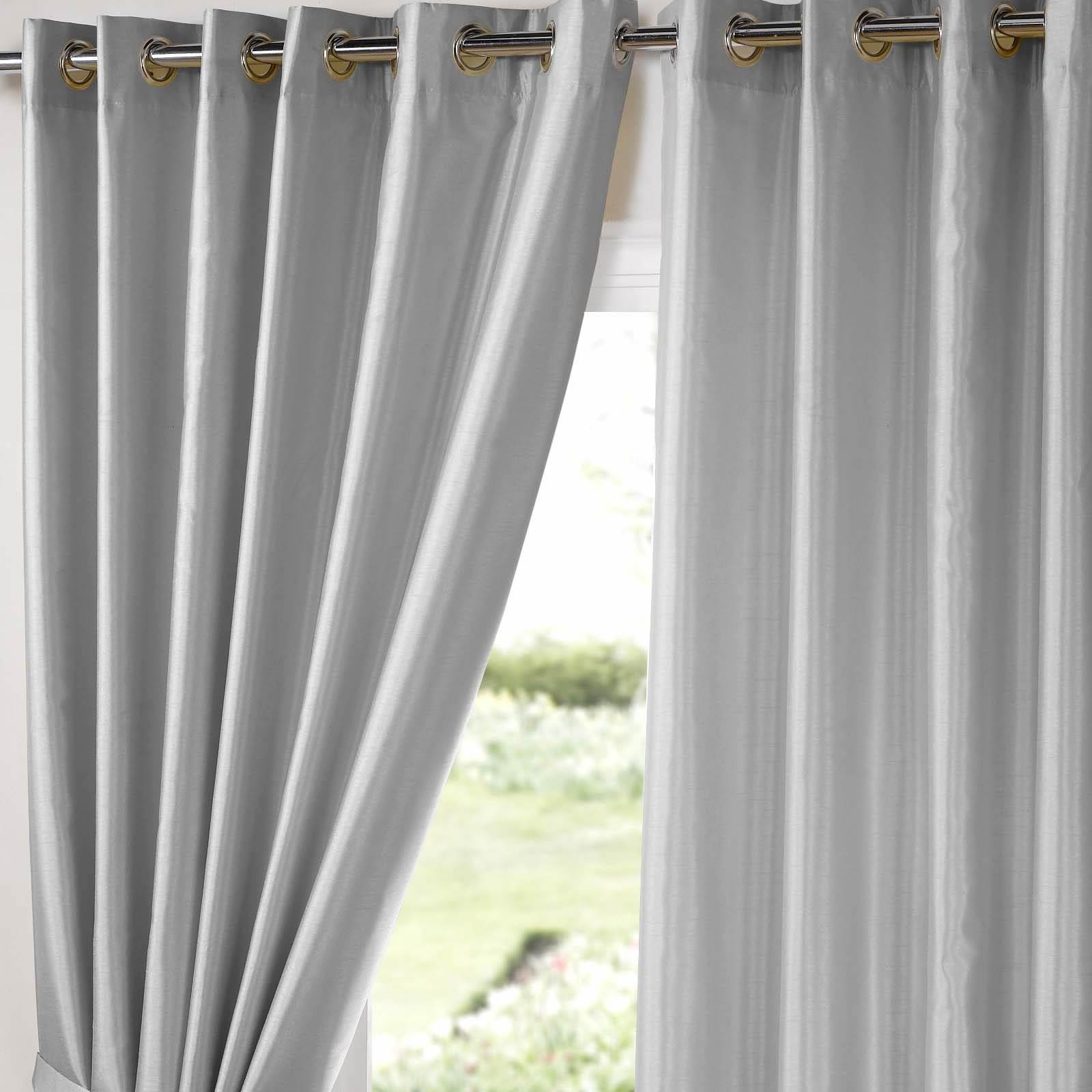 Fully Lined Eyelet Curtains Ring Top Pair Faux Silk Black