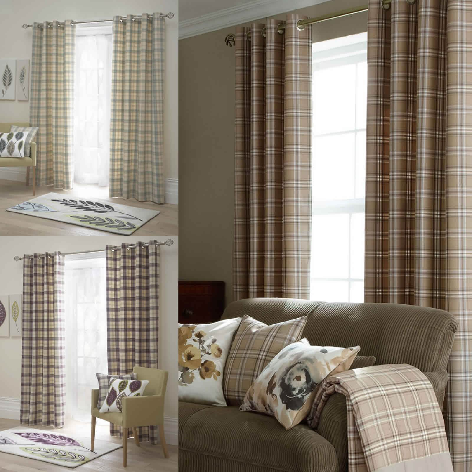 Living Room Ready Made Curtains Tartan Check Lined Eyelet Curtains Ready Made Ring Top Brown