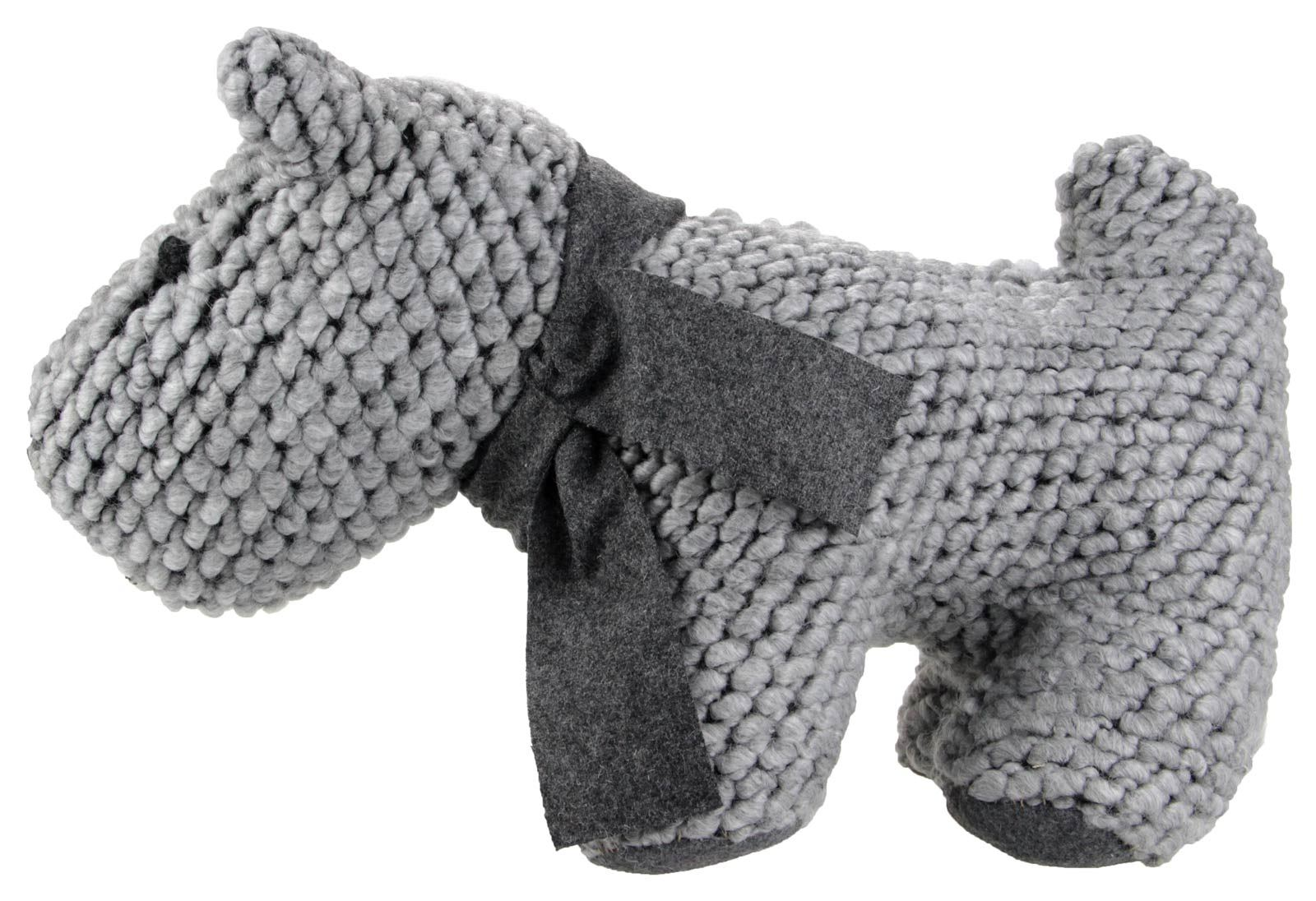 Knitted dog door stop cute novelty gift animal stopper grey ebay - Cute door stoppers ...
