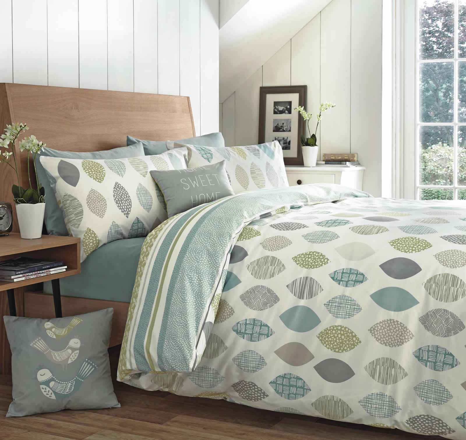 Letree leaf reversible duvet covers quilt set 100 cotton