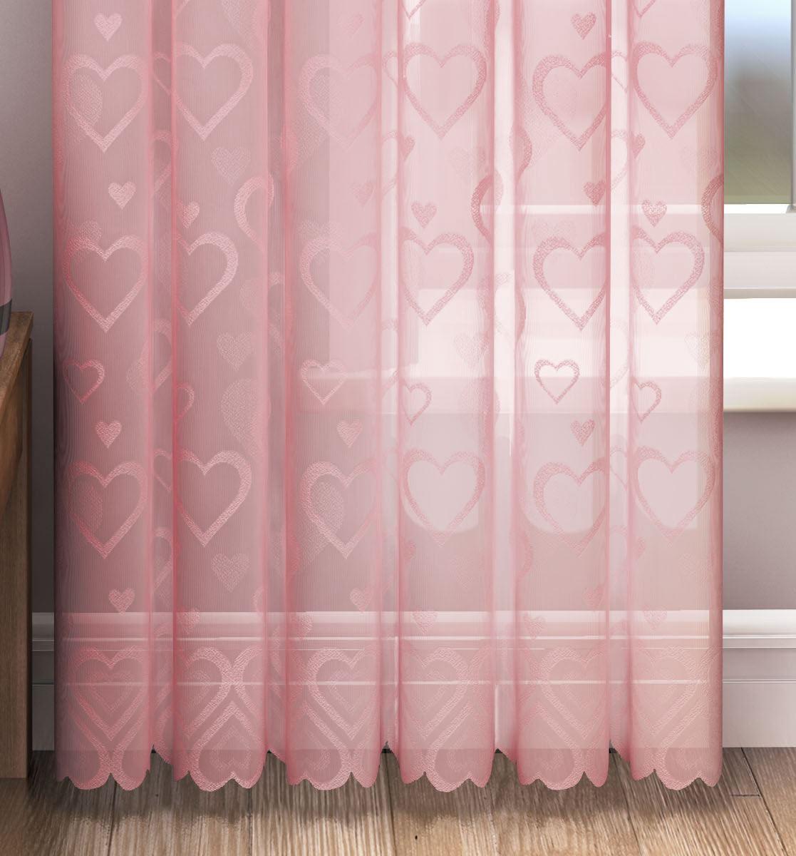 vorhang panel liebe herz voile vorh nge spitze creme rosa wei ebay. Black Bedroom Furniture Sets. Home Design Ideas