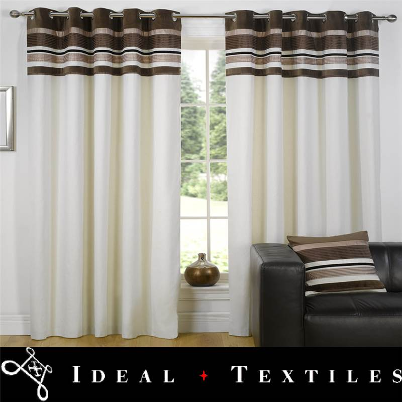 Chocolate-Brown-Lined-Eyelet-Curtains-Velvet-Trimmed-Ringtop-Kendal