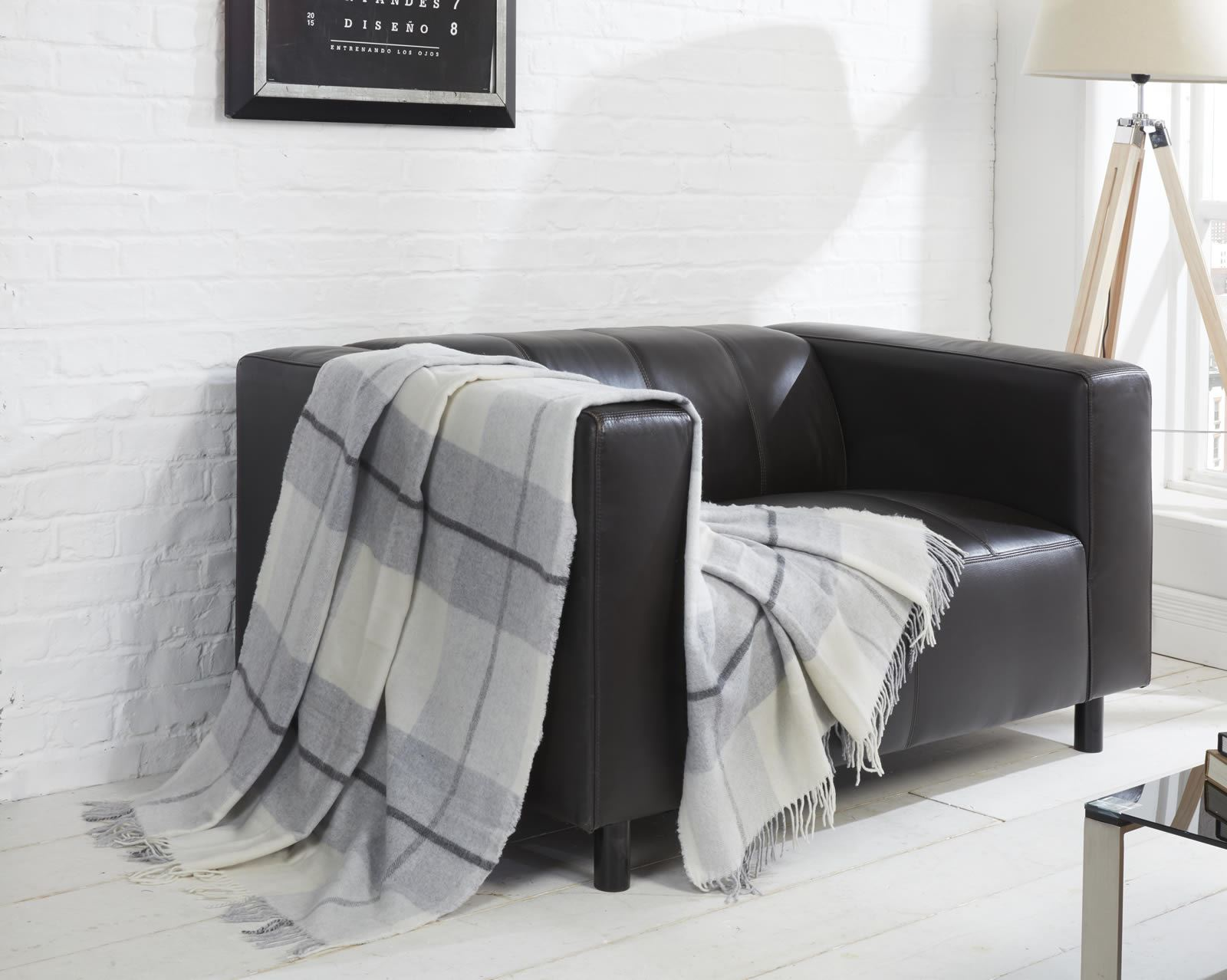 Toscana tartan check wool throw blanket super soft sofa for Sofa bed 140 x 200