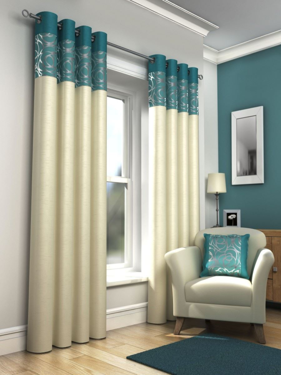 SKYE FULLY LINED MODERN EYELET CURTAINS RING TOP READY MADE CURTAIN PAIRS