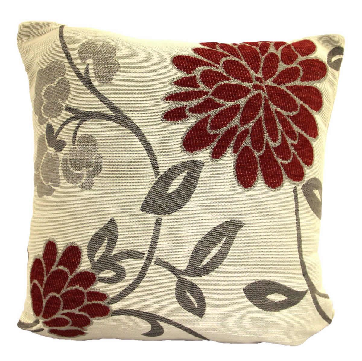 Chrystie luxury floral chenille cushion cover 18 x 18 for Luxury decorative throw pillows