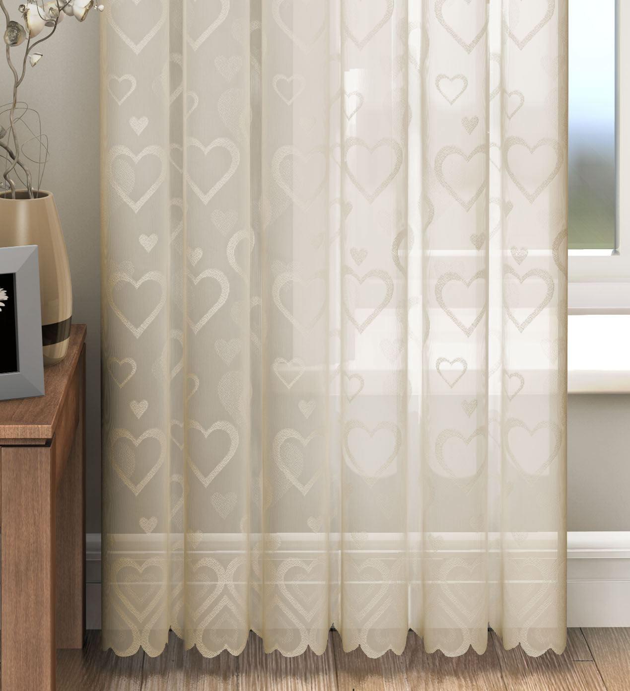 panneau de rideau coeur d 39 amour rideaux de voile dentelle cr me rose blanc ebay. Black Bedroom Furniture Sets. Home Design Ideas