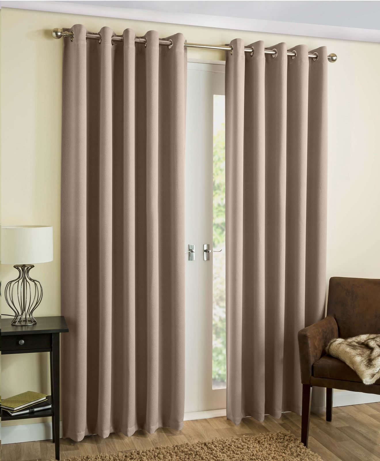 Thermal curtains grey - Byron Thermal Blockout Eyelet Curtains Herringbone Print Charcoal