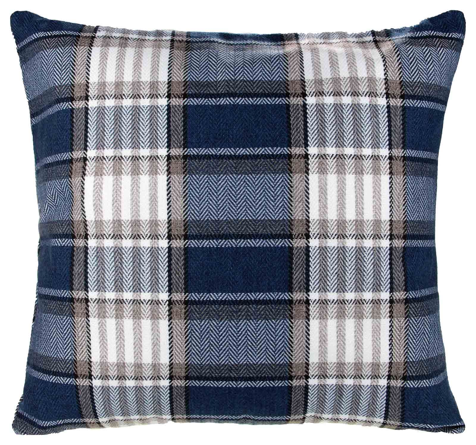 The adorable Plaid Pooch Square Throw Pillow from Mina Victory is the perfect finishing touch to any room. It features a small happy dog, in a plaid design, perched on top of a welcome bag. This cute pillow will look great on any sofa or chair.