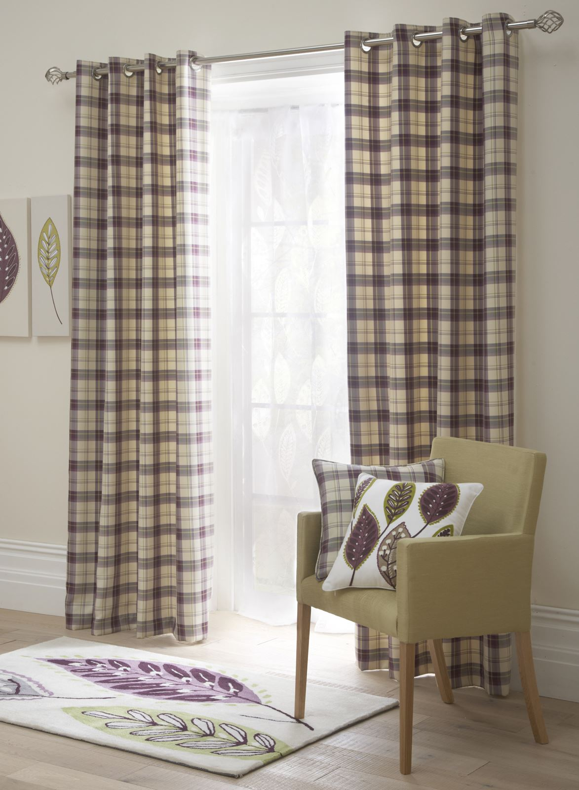 Tartan Check Lined Eyelet Curtains Ready Made Ring Top Brown Aubergine Blue