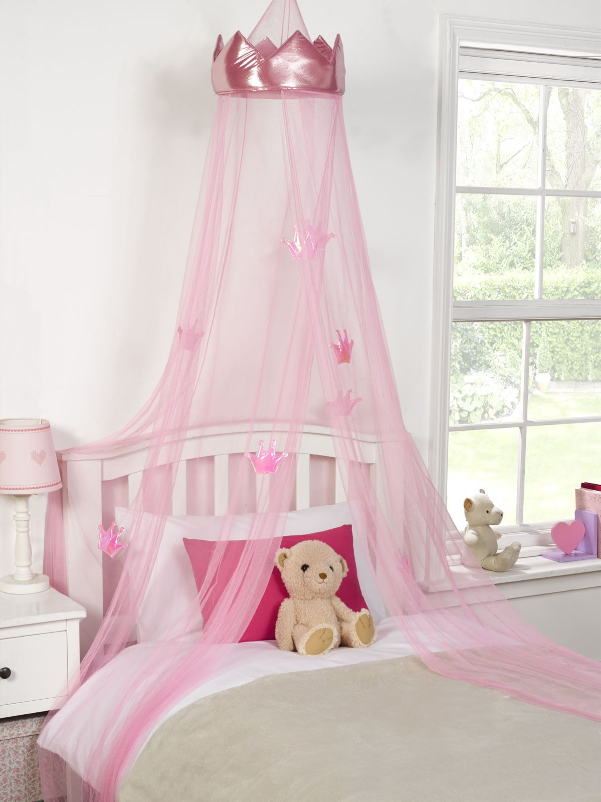 Kids childrens girls princess crown bed canopy insect for Bed with mosquito net decoration
