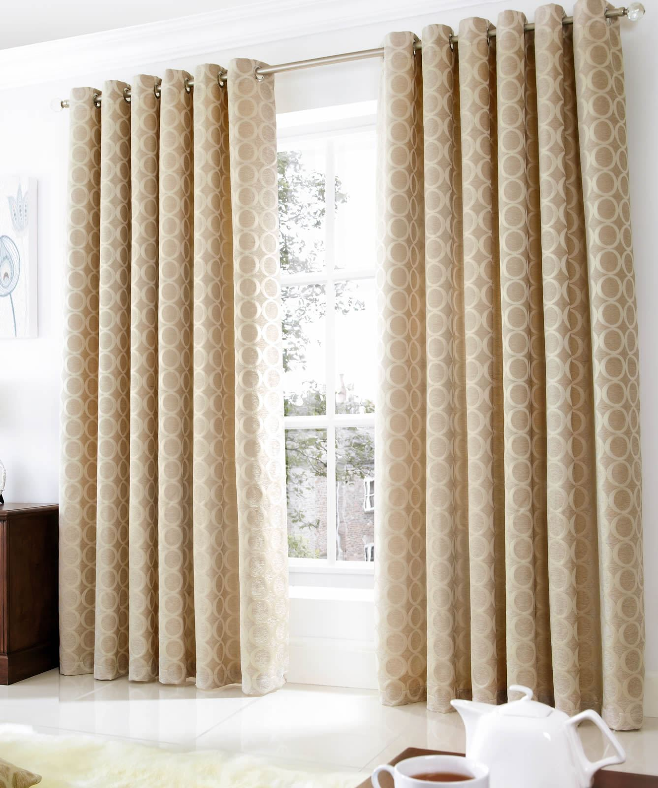 luxury heavy chenille lined curtains eyelet curtains red cream black ebay. Black Bedroom Furniture Sets. Home Design Ideas
