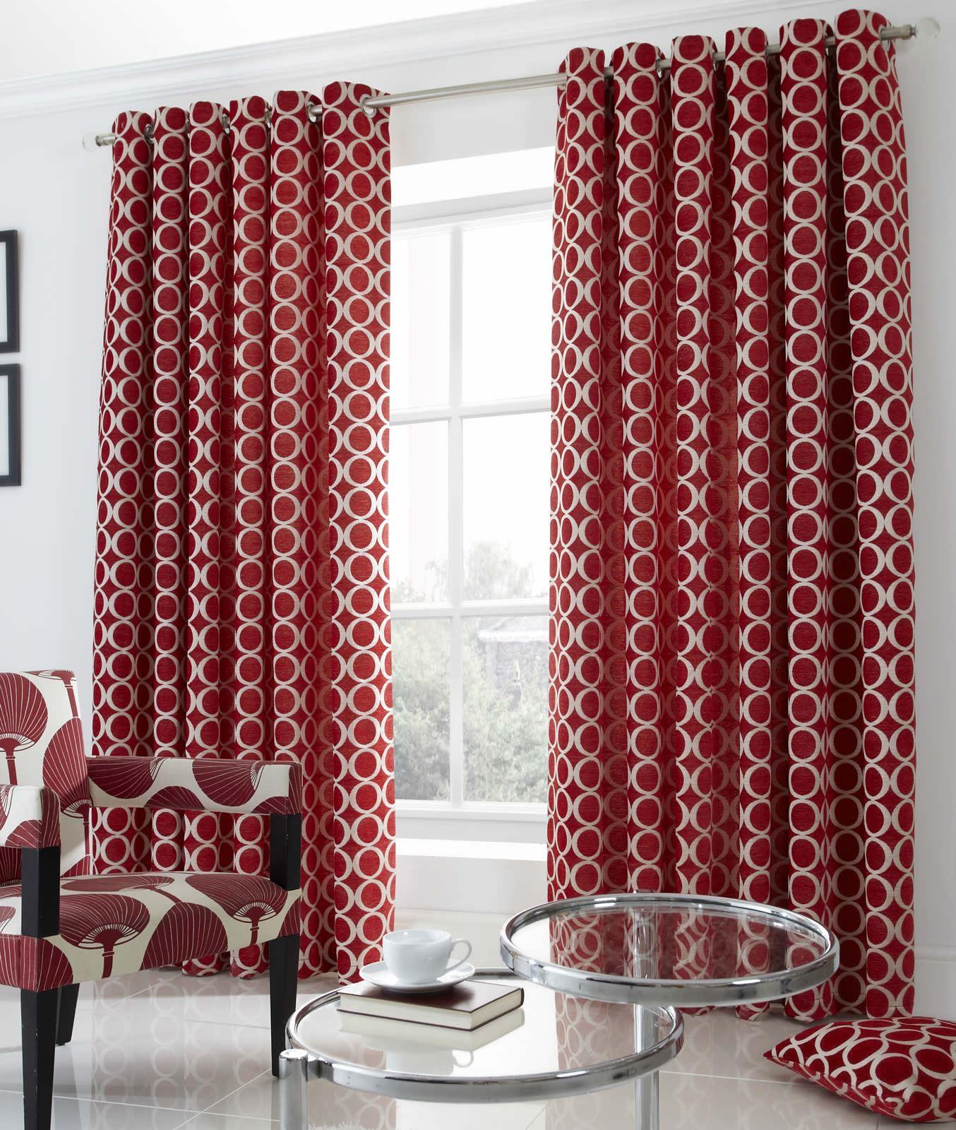 rideaux de luxe rideaux oeillet poids lourds cr me rouge noir ebay. Black Bedroom Furniture Sets. Home Design Ideas
