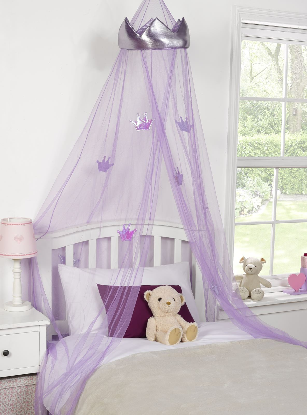 kids childrens girls princess crown bed canopy insect. Black Bedroom Furniture Sets. Home Design Ideas
