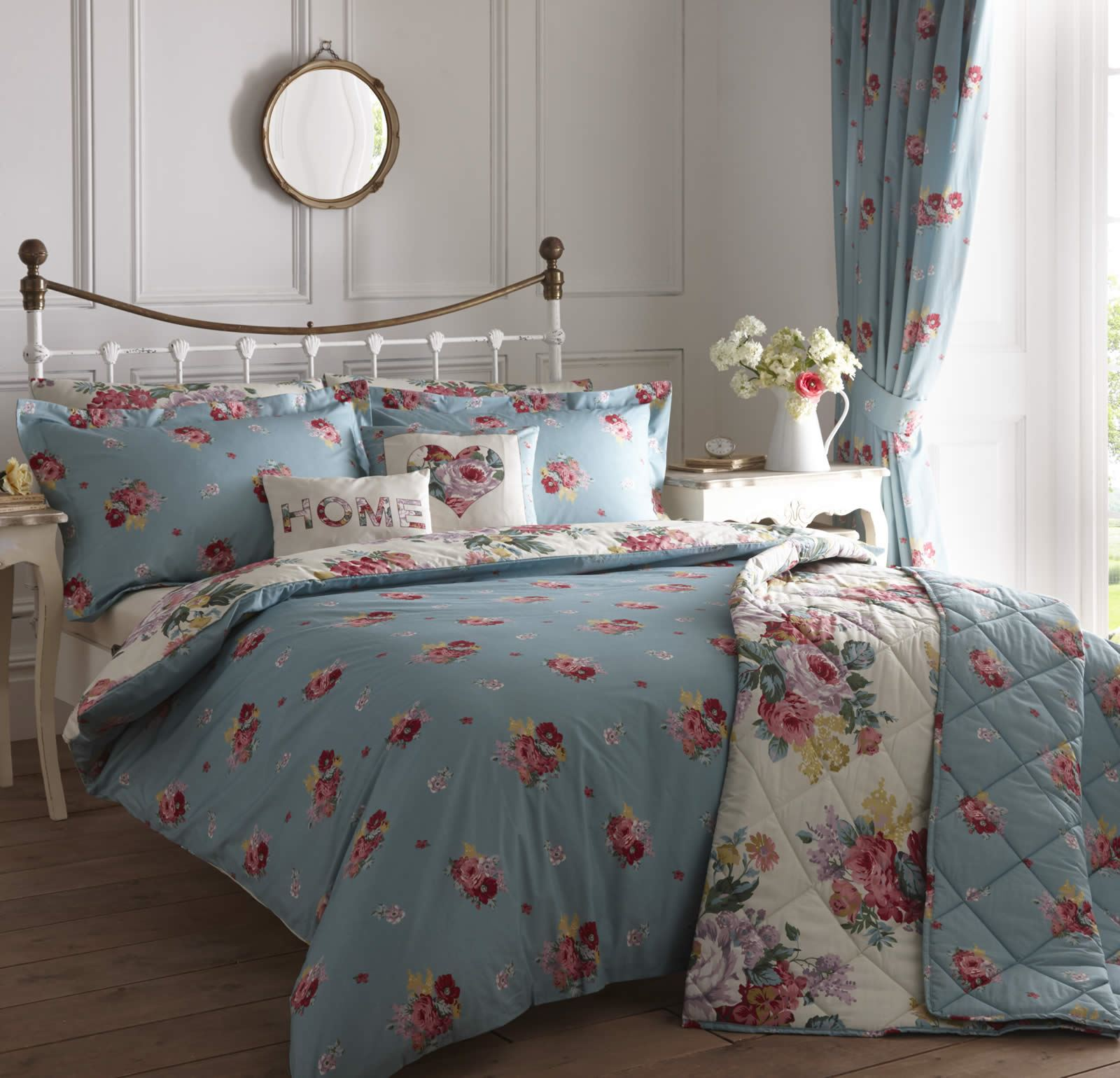 CAMBERLEY VINTAGE STYLE REVERSIBLE FLORAL DUVET COVER EASY ...