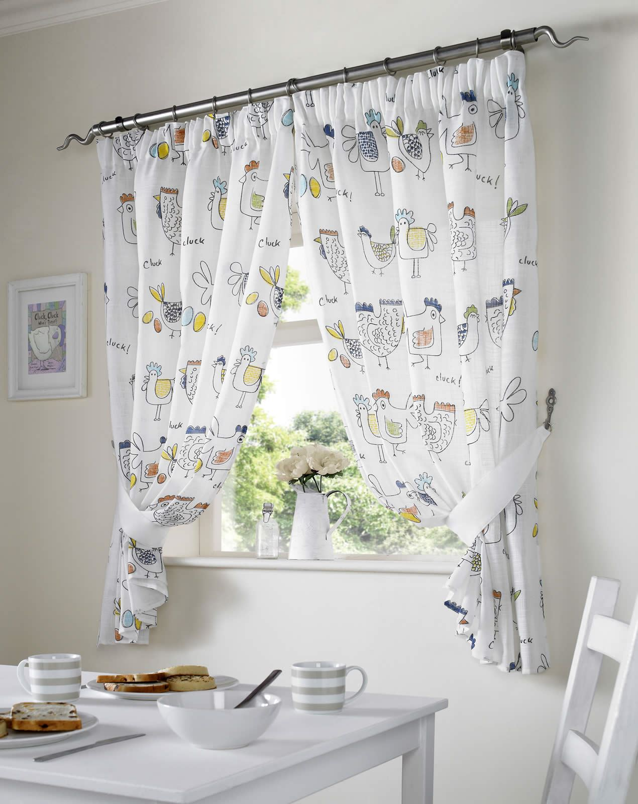 chickens rooster country style kitchen curtain set window drapes dining room ebay. Black Bedroom Furniture Sets. Home Design Ideas