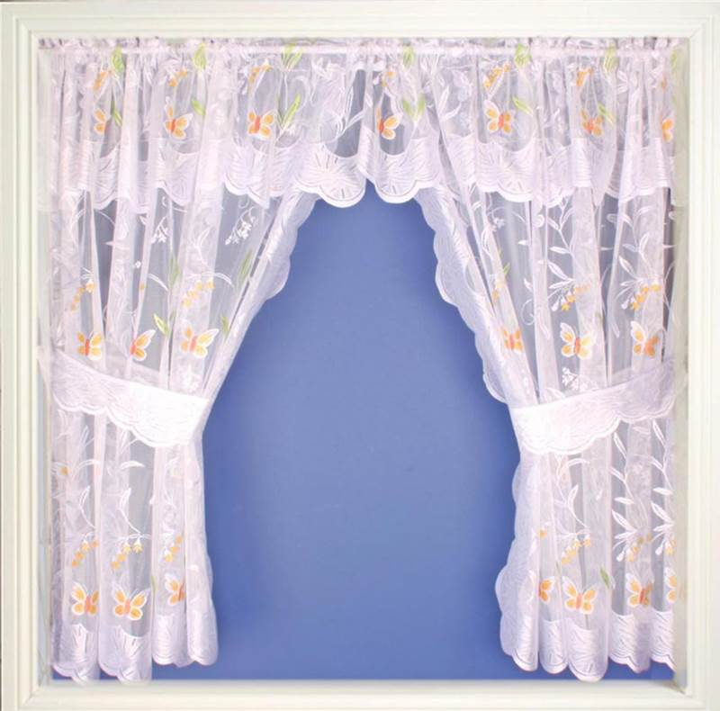 Lace Net Butterfly Curtain Set With Valance Tie Backs White Gold Purple Ebay