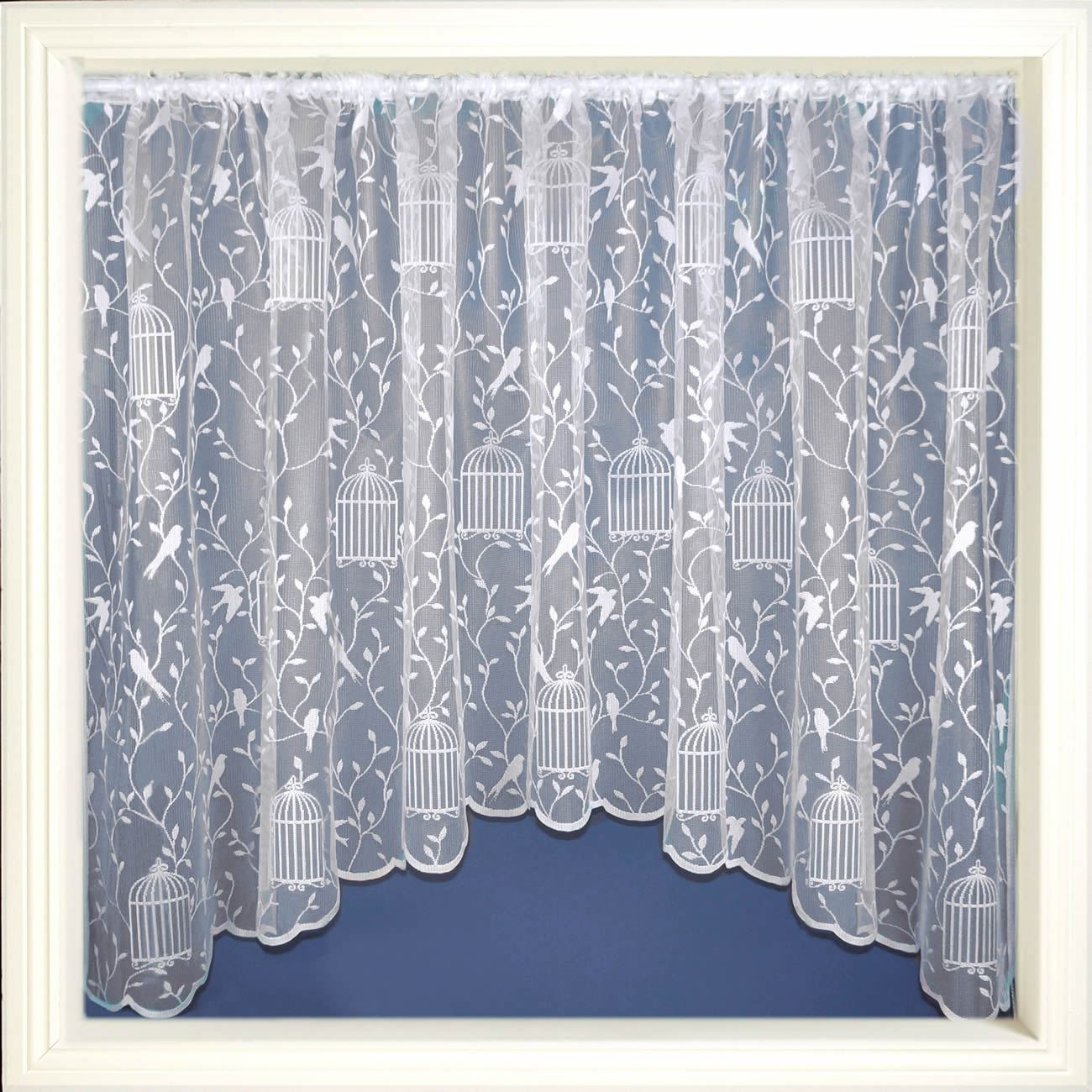 details about jardiniere net curtains white lace curtain panel ready